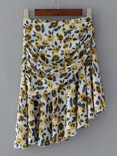 Floral Print Asymmetrical Ruched Skirt