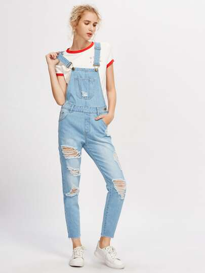 Bleach Wash Ripped Denim Overalls