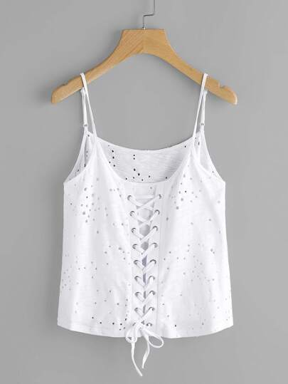Grommet Lace Up Back Eyelet Cami Top