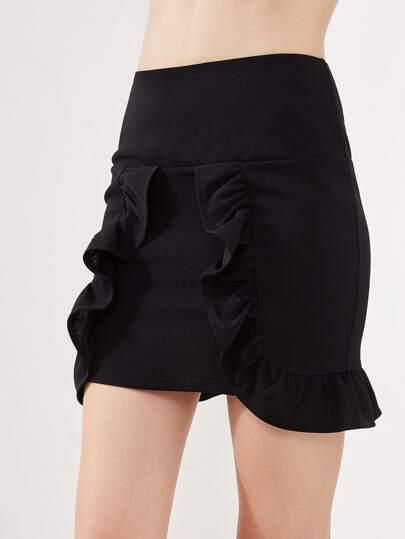 Drop Waist Flounce Trim Skirt