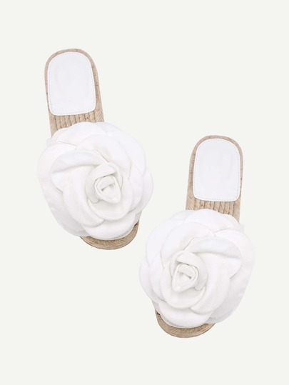 Flower Embellished PU Flat Sandals