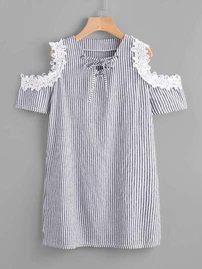 Contrast Lace Open Shoulder Vertical Striped Dress