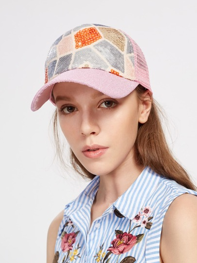 Sequin Patchwork Baseball Cap