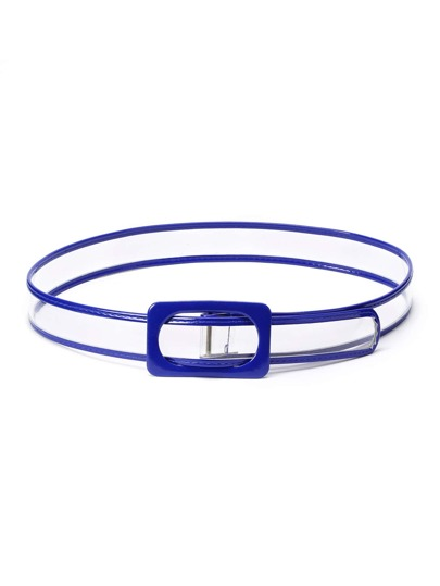 Rectangle Buckle Clear Waist Belt