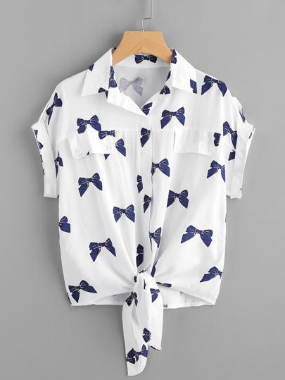Knotted Hem Cuffed Bow Print Shirt
