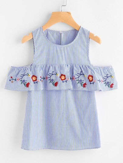 Open Shoulder Embroidered Flounce Trim Striped Top