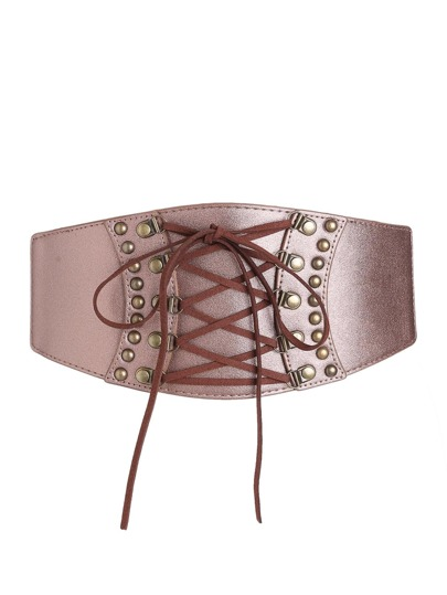 Metallic Lace Up Corset Belt