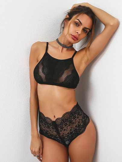 Mesh Panel Hollow Out Lace Bandeau Bra Set