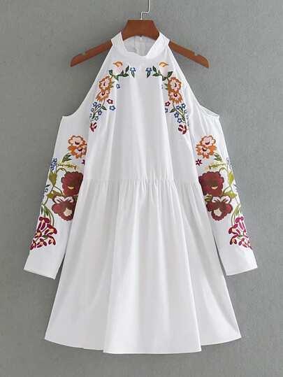 Open Shoulder Flower Embroidered Zipper Back Dress