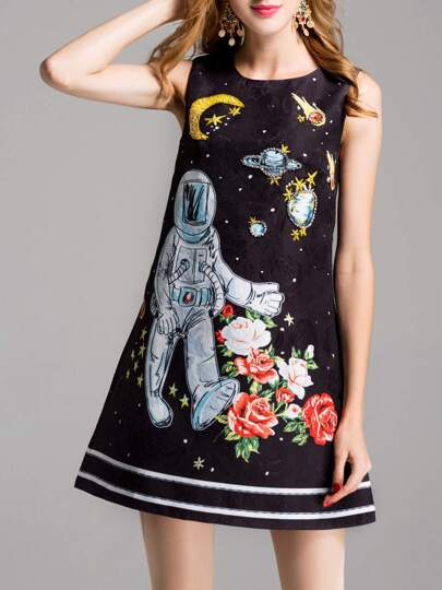 Astronaut Jacquard Beading Sequined Dress