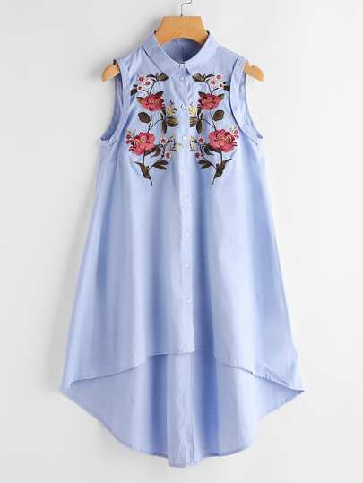 Floral Embroidered Dip Hem Shirt Dress