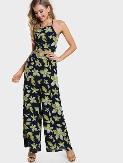 Leaf Print Crisscross Tie Back Cami And Culotte Pants Co-Ord
