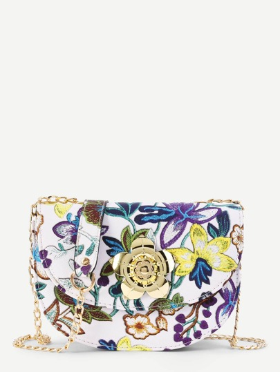 Flower Embroidery And Lock Design Chain Bag