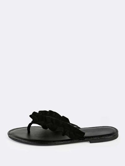 Ruffle Thong Sandals BLACK