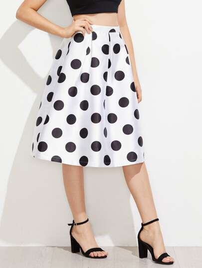 Polka Dot  Box Pleated Volume Skirt