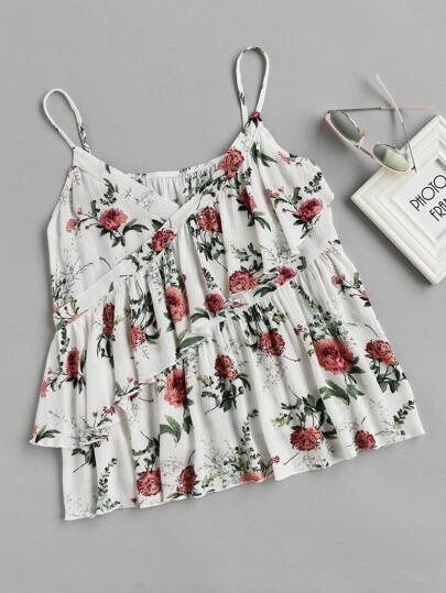 Top camisole con stampa botanica