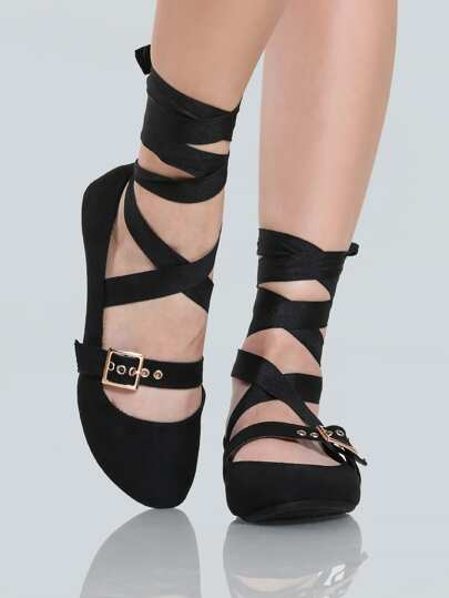 Lace Up Buckle Ballet Flats BLACK
