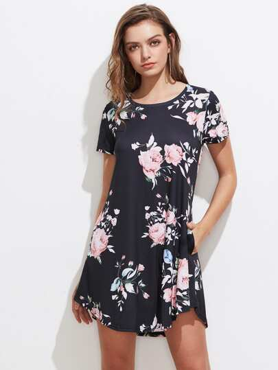 Random Flower Print Curved Hem Tee Dress