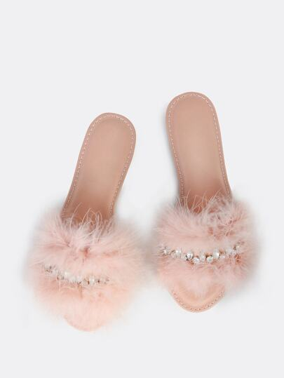 Fuzzy Jewel Slip Ons BLUSH