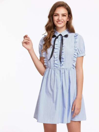 Half Placket Frill Detail Fit And Flare Dress