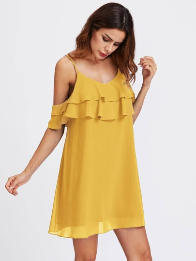 Layered Flounce Trim Dress