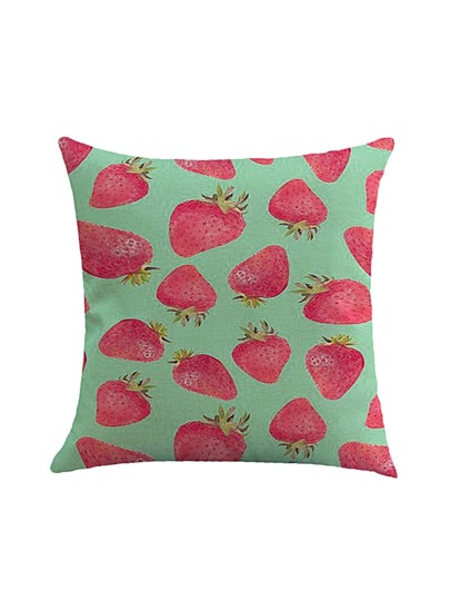 Strawberry Print Overlay Pillowcase Cover