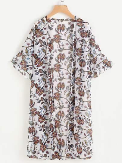 Kimono floral al azar de gasa con volantes