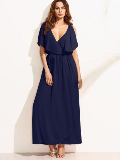 Surplice Front Split Cape Dress