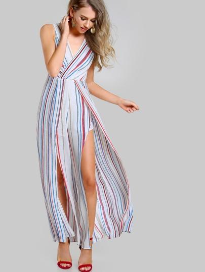 Tie Up Split Front Striped Jumpsuit WHITE