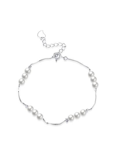 Faux Pearl Embellished Link Bracelet