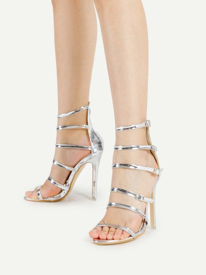 Metallic Strappy Heeled Sandals