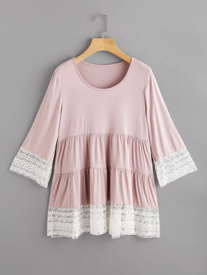 Contrast Lace Trim Tiered T-shirt