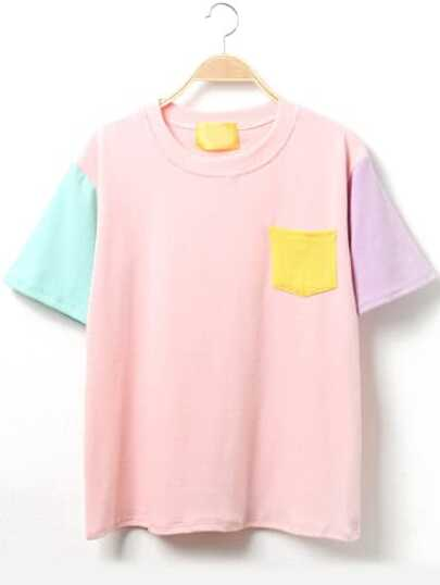 Color Block Short Sleeve T-Shirt With Pocket