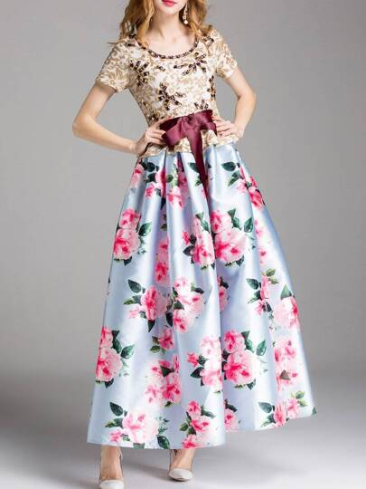 Bowknot Flowers Print Beading Sequined Dress