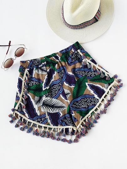 Shorts imprimé des palmes avec dséfiler plis et des franges