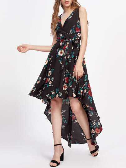 Surplice Neckline Random Florals Dip Hem Dress With Belt