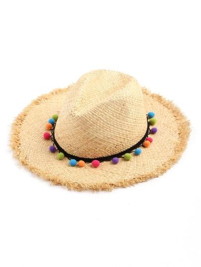 Pom Pom Detail Straw Hat