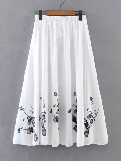Elastic Waist Floral Pleated Skirt