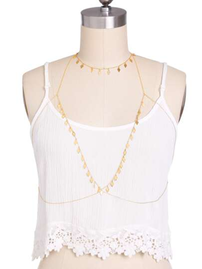 Diamond-shaped Metal Sequin Detail Body Chain