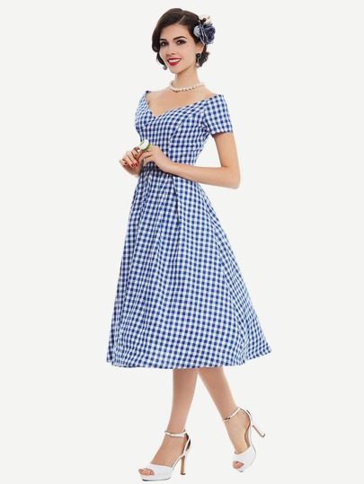 Double V Checkered Swing Dress