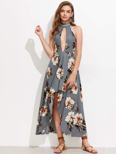 Vestido floral con abertura en la parte delantera sin espalda
