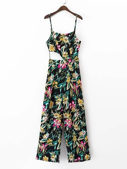 Floral Print Cut Out Waist Jumpsuit