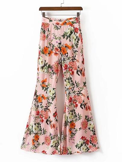 Floral Print Zipper Side Flare Pants
