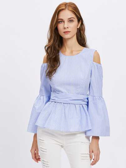 Open Shoulder Fluted Sleeve Button Bow Back Blouse