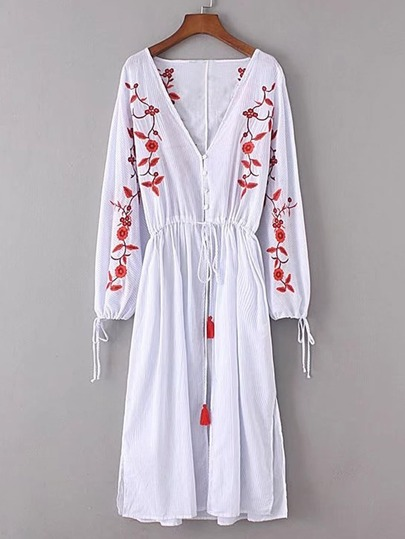Flower Embroidery Tassel Tie Split Side Dress