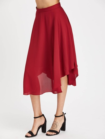 Zip Back Curved Hem Flowy Skirt