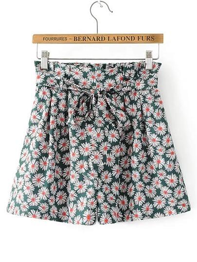Pantaloncini a vita Ditsy Print Bow Tie