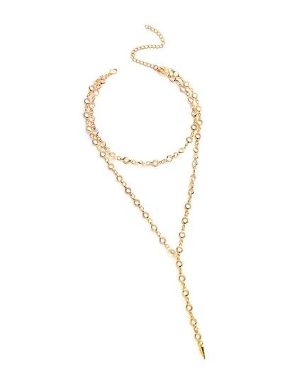 Crystal Embellished Bar Pendant Necklace