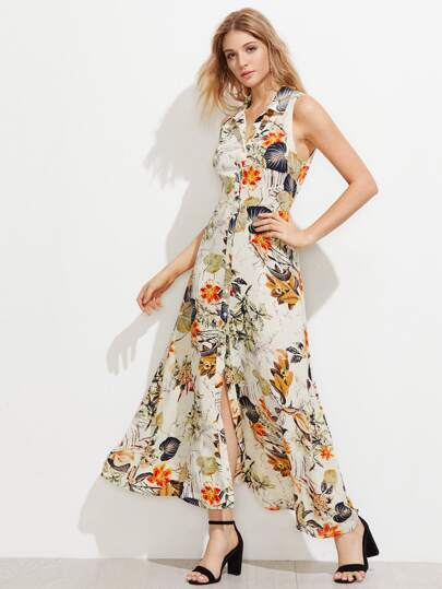 Tropical Print Sleeveless Shirt Dress
