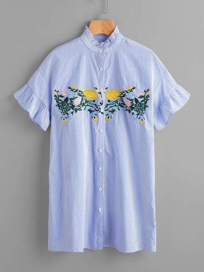 Frill Collar And Sleeve Flower Embroidery Shirt Dress